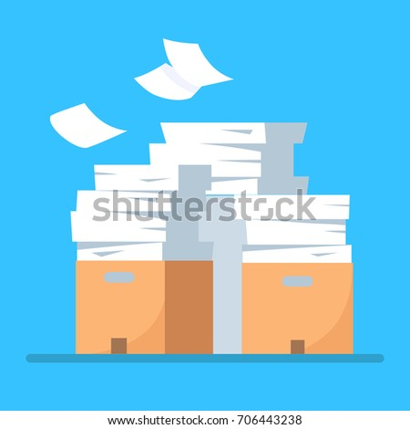 Stack of office printer paper in cardboard boxes isolated on background. Pile of documents in parcel, package. Paperwork, ream. Bureaucracy concept. Vector cartoon illustration. Flat style design