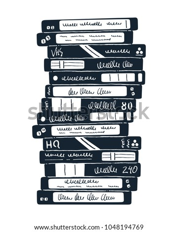 Stack of old video cassettes. 90s technology. Inky doodle illustration. Vector.