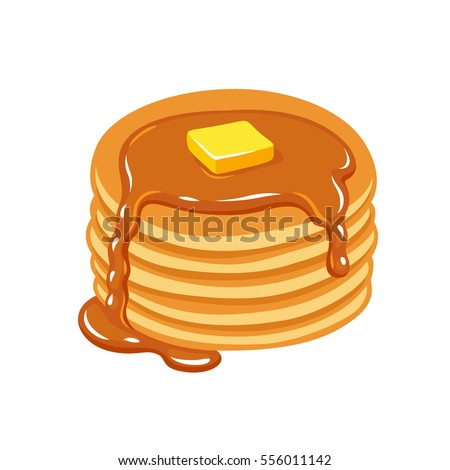 stack of pancakes with maple