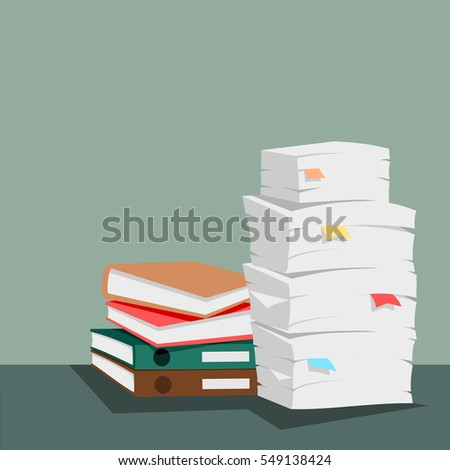 Stack of papers and documents vector.