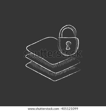 Stack of papers with lock. Drawn in chalk icon.