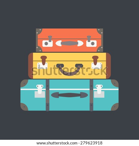 Stack of suitcases. Flat vector illustration