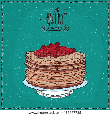 stack of thin pancakes with red