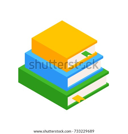 Stack of Three Books in the Isometric. Educational and Scientific Concept. Element for Infographic. Vector Illustration Isolated on white background