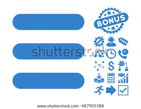 Stack pictograph with bonus pictogram. Vector illustration style is flat iconic symbols, cobalt color, white background.