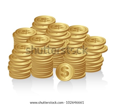 stacked coins isolated on white background vector illustration