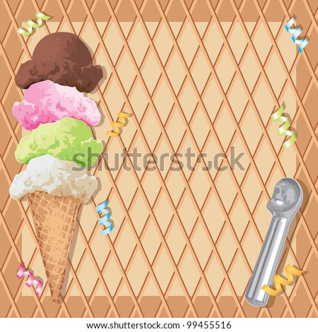 Stacked Ice cream cone with different flavors on a waffle cone background and ice cream scoop and curly ribbons.  Perfect for an ice cream birthday party Invitation! - stock vector