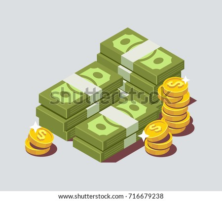 Stacked pile of cash with coin. Flat isometric vector