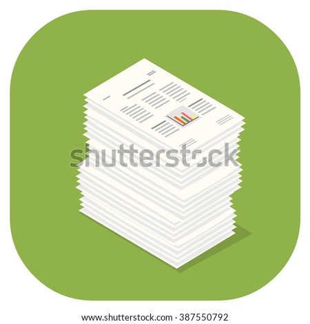 Stacked pile of financial documents. A vector illustration icon of stacked Paper Documents. Flat icon paperwork concept.