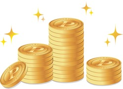 Stacked point coins (gold medals)