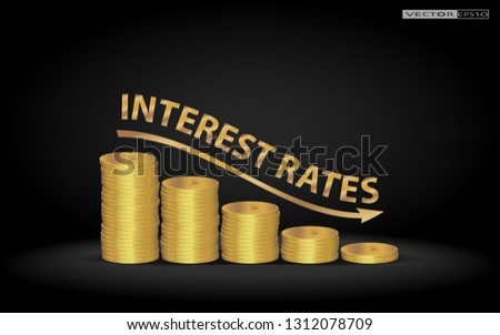 Stacked US Dollar coins shows decreasing of interest rates / Financial Concept. ストックフォト ©