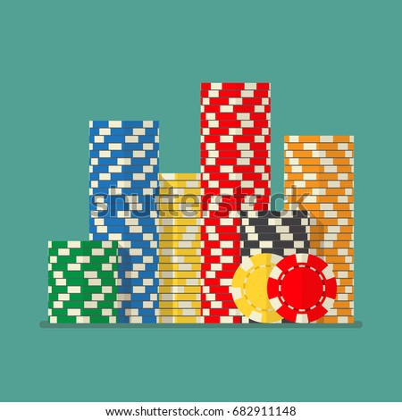 Stacks colorful poker chips. Vector illustration