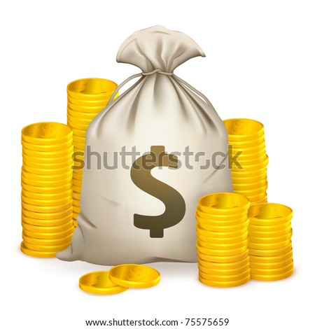 Stacks of coins and money bag, 10eps