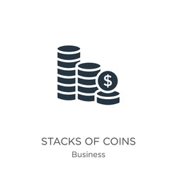Stacks of coins icon vector. Trendy flat stacks of coins icon from business collection isolated on white background. Vector illustration can be used for web and mobile graphic design, logo, eps10