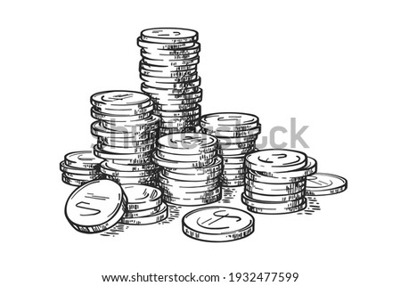 Stacks of coins isolated on white background. Money. Vector hand drawn vintage engraving illustration. Stock photo ©
