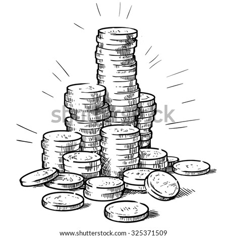 Stacks of coins. Money. Hand drawn vector illustration.