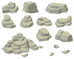 Stacks of flat rocks set. Heaps of natural stones of different sizes, rocky pyramids and steps isolated on white background. For mountains, geology, mineral concepts