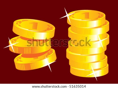 Stacks of gold coins, vector.