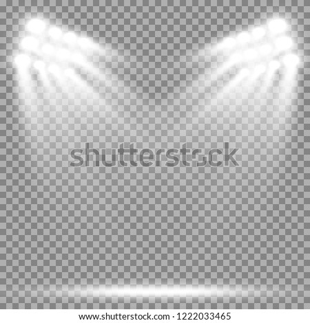 Stadium floodlights brightly illuminate evening or night sports games, concerts, shows, events. Isolated on a transparent background. Arenas of bright spotlights. Bright lights. Illuminated scene.