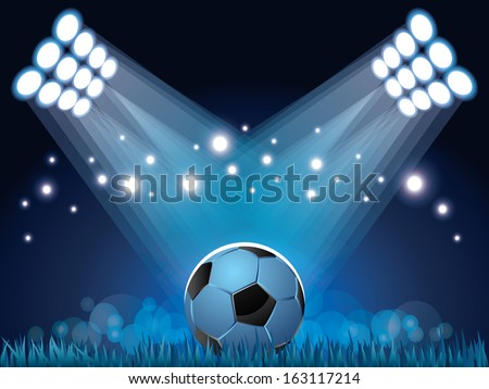 Stadium lights and soccer ball sport vector background