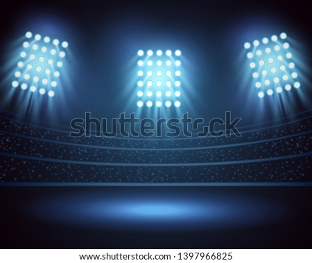 stadium lights and three