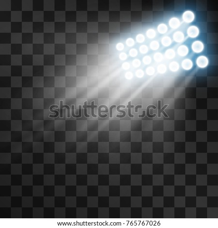 Stadium projector lights to illumnate evening or night sport games, concerts, shows, open air events isolated on transparent background. Arena spotlights.