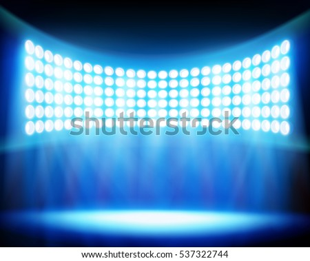 Stadium spotlights. Vector illustration.