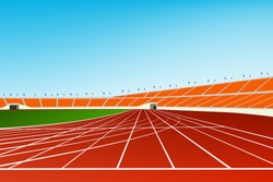 Stadium stand and running track. Graphic vector