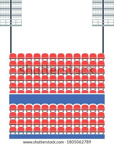 Stadium Tribune With Seats And Light Mast Icon. Flat Color Design. Vector Illustration. Stock photo ©
