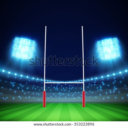 stadium with lights and rugby