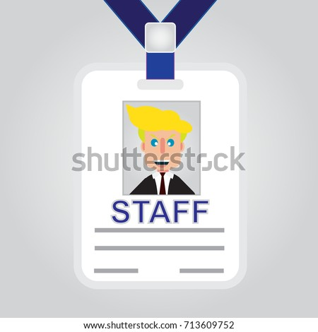 Staff admission badge pass card or identification ID card vector design with simple vector