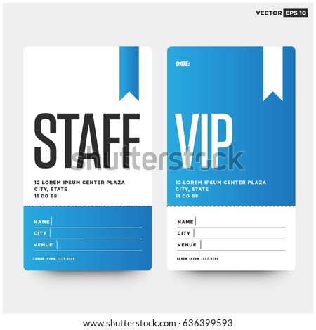 Staff and VIP entry ID Card Design Template with Name Date City and Venue Details