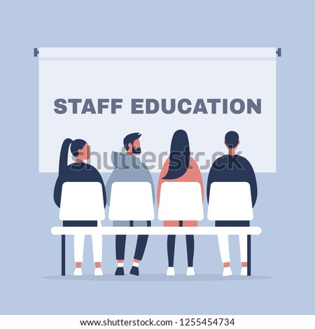 Staff education. Office workshops and seminars. Human resources. Career. Modern workers. Flat editable vector illustration, clip art