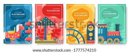 Staff equipment template of flyear, magazine, poster, book cover, booklet, banners. Grain texture and noise effect. People character with items around Kids playground background.