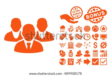 Staff icon with bonus pictogram. Vector illustration style is flat iconic symbols, orange color, white background.