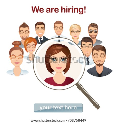 Staff research, concept of human resources management, professional, head hunter job with magnifying glass. Flat design, Vector illustration.