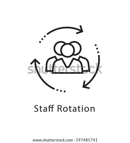 Staff Rotation Vector Line Icon