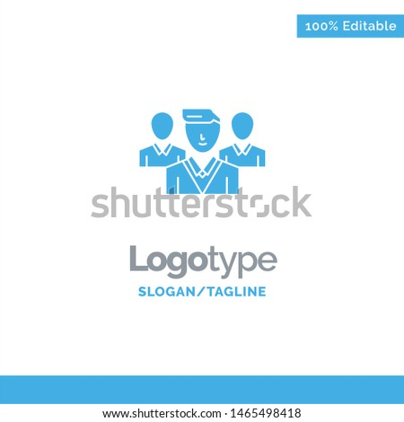Staff, Security, Friend zone, Gang Blue Solid Logo Template. Place for Tagline. Vector Icon Template background Stock fotó ©