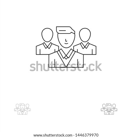 Staff, Security, Friend zone, Gang Bold and thin black line icon set Stock fotó ©