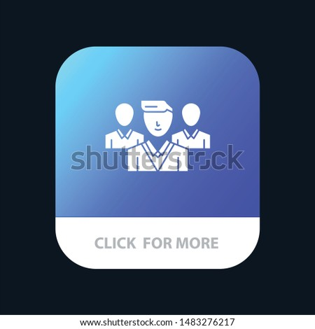 Staff, Security, Friend zone, Gang Mobile App Button. Android and IOS Glyph Version Stock fotó ©