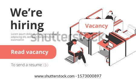 Staffing recruitment agency employment vacancies hiring service isometric landing page banner with job seeker interview vector illustration