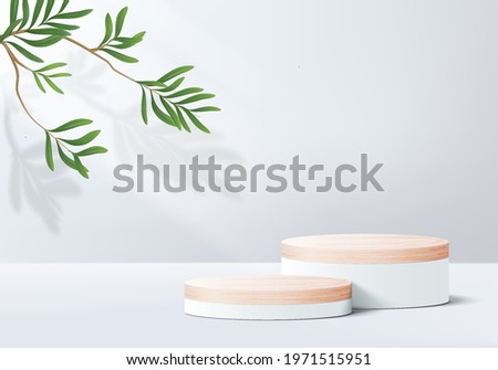 stage 3d gray background product display podium scene with leaf platform. grey background vector 3d render with podium. summer stand white cosmetic product. Stage summer on pedestal display white