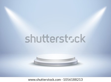 Stage display podium on blue studio shoot room background. Realistic white clean circle plinth, pillar, pedestal. Vector prize empty stage platform stand with projector lights for advertising design.
