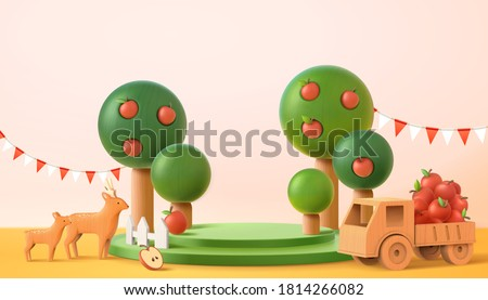 Stage for displaying product in 3d illustration. Green podium with apple trees, wooden deers and small truck full of fresh apples