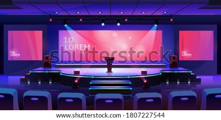 Stage for event or conference with tribune, convention hall for presentation or concert, vector background. Modern empty stage with speaker podium, chair seats and projector display monitors on screen