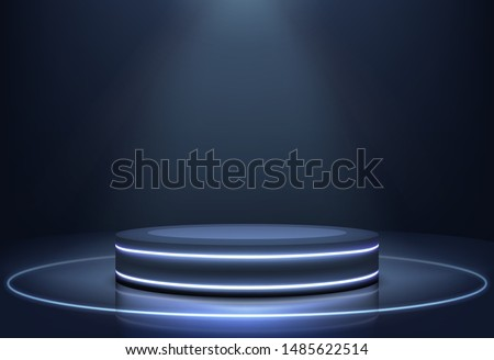 Stage for performances, product presentation podium or pedestal on glossy surface, illuminated in darkness with neon light rims and projector searchlight from above 3d realistic vector illustration