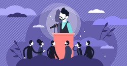 Stage fright vector illustration. Stress behavior in flat tiny persons concept. Scene with afraid of stage situation. Speaker anxiety from crowd and audience communication as psychological character.