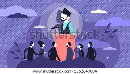 Stage fright vector illustration. Stress behavior in flat tiny persons concept. Scene with afraid of stage situation. Speaker anxiety from crowd and audience communication as psychological character. Foto stock ©