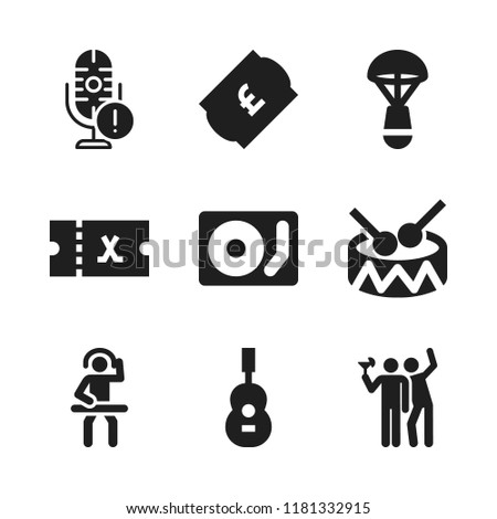 stage icon. 9 stage vector icons set. ticket, disc jockey and disc jokey icons for web and design about stage theme