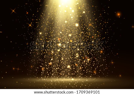 Stage light and golden glitter lights effect with gold rays, beams and falling glittering dust on floor. Abstract gold background for display your product. Shiny spotlight or stage. vector.